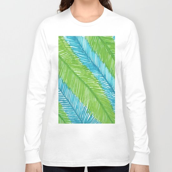 Blue and Green Palm Leaves Long Sleeve T-shirt
