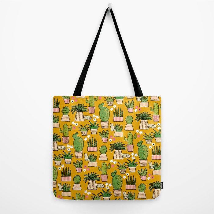 Cactus Cat Yellow Garden Tote Bag