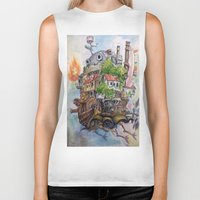calcifer Biker Tanks featuring Howls Moving Castle Painting 2 by Little Miss Marikit