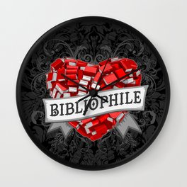 Bibliophile Heart Wall Clock