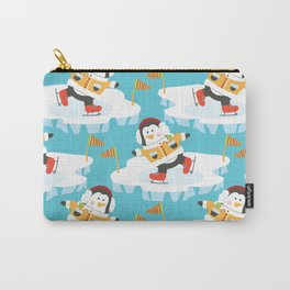 Sporty Skating Penguins Carry-All Pouch