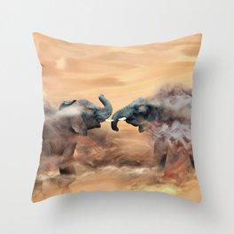 Elephants fighting Throw Pillow