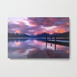 Boat dock at Lake McDonald Metal Print