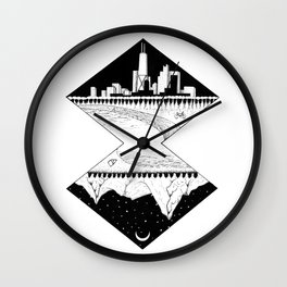 City by the Mountains Wall Clock