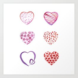 Watercolor Pink Hearts Art Print