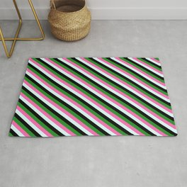 Forest Green, Hot Pink, Light Cyan & Black Colored Lined Pattern Rug