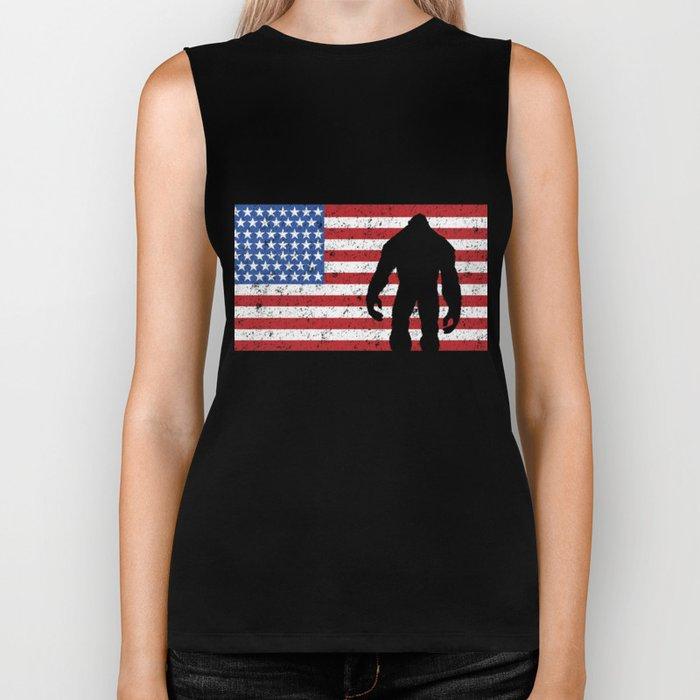 American Flag Bigfoot 4th of July Sasquatch Patriot Biker Tank