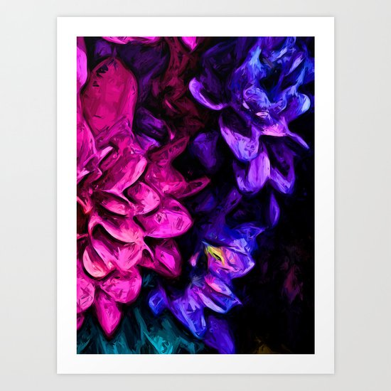 Pink Flower with Purple Flowers Art Print