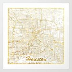 Houston Map Gold Art Print