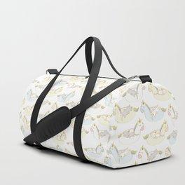 Sleepy lazy cats in unicorn floaties Duffle Bag