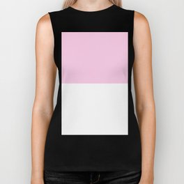 White and Classic Rose Pink Horizontal Halves Biker Tank