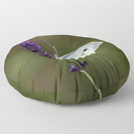 Butterfly on lavender, green blurry background Floor Pillow