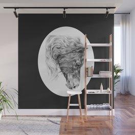 BLACK FRIESIAN HORSE HEAD Wall Mural