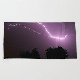 Purple Lightning Night Sky Beach Towel