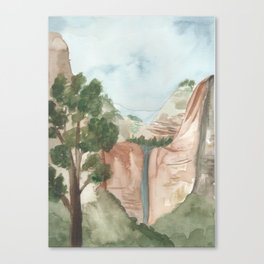 watercolor landscape // zion national park utah waterfall canyon Canvas Print