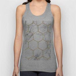 Gold marble hexagon pattern Unisex Tank Top