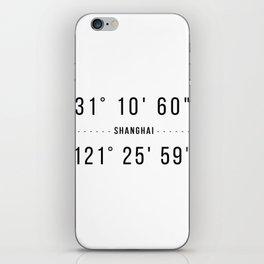Shanghai Coordinates Minimalistic iPhone Skin