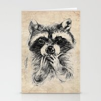 rocket raccoon Stationery Cards featuring Surprised raccoon by Anna Shell