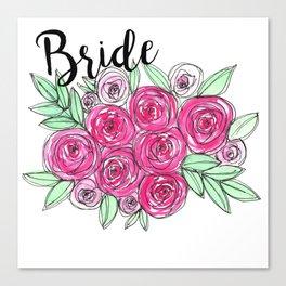 Bride Wedding Pink Roses Watercolor Canvas Print