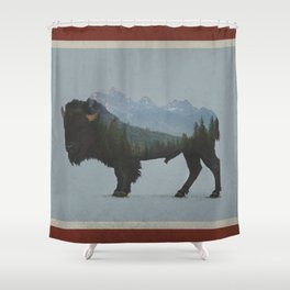 Wyoming Bison Flag Shower Curtain