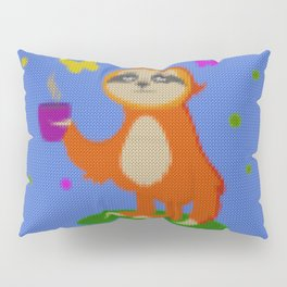Cute Knit style Sloth with a coffee cup Pillow Sham