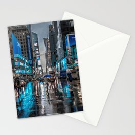 Spectacular Busy New York Manhattan City Street Blue Hue HD Stationery Cards