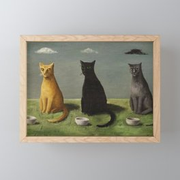 Three Cats with Clouds That Follow Them Everywhere by Gertrude Abercrombie Framed Mini Art Print