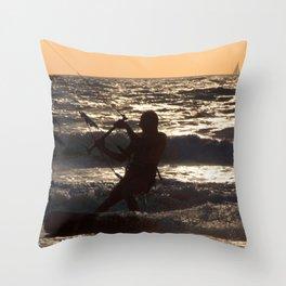 Kitesurfing at Arambol Throw Pillow