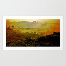Mist in the hills Art Print