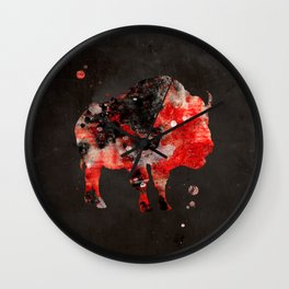 Watercolor Buffalo Bison Painting Black Red Grunge Wall Clock