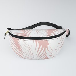 White Tropical Palm Tree Fern Leaf on Rose Gold Pattern Fanny Pack