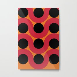 Black Balls on red Elastic Worms in an Orange Background Metal Print