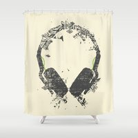 edm Shower Curtains featuring Art Headphones V2 by Sitchko Igor