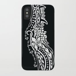 Black And White Polynesian Tribal Pattern iPhone Case