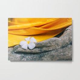 Flower in Buddha hand Metal Print
