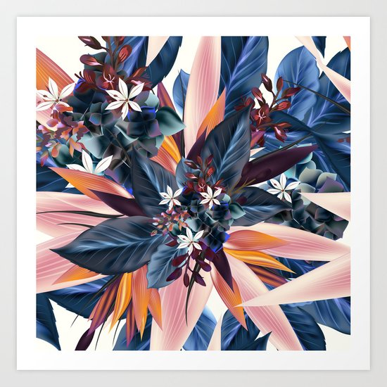 Tropical floral pattern with exotic flowers Art Print