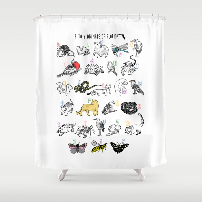 A To Z Animals Of Florida Shower Curtain