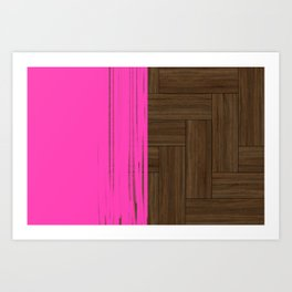 Wood Parquet with a touch of pink Art Print