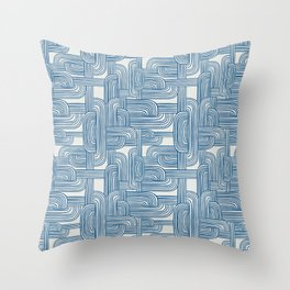 Woven Roads in Classic Blue Throw Pillow