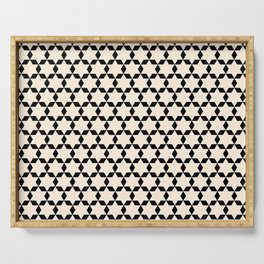 Star Tiles Geometric Pattern in Almond Cream and Black Serving Tray