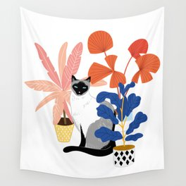 siamese cat and plants Wall Tapestry