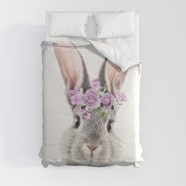 Bunny With Flower Crown Comforters