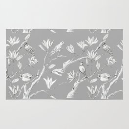 Magnolia flower and birds ink-pen drawing Rug