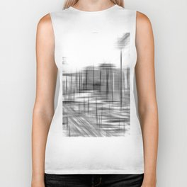 pencil drawing buildings in the city in black and white Biker Tank