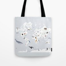 Animal Map of the world Tote Bag