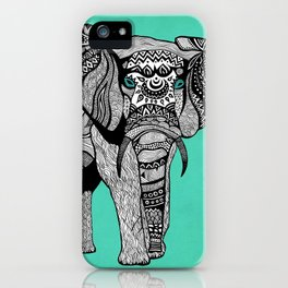 Tribal Elephant Black and White Version iPhone Case