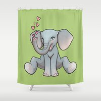 baby elephant Shower Curtains featuring Baby Elephant by Beryl Kruger