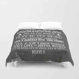 Christmas Chalk Board Typography Text Duvet Cover