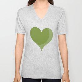 green heart Unisex V-Neck