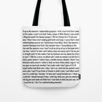 nicki Tote Bags featuring Nicki Monster by Shelby Thompson